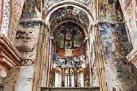 Interior of the Georgian Orthodox of St. George covered with frescoes dating from the 16th century, medieval Gelati Monastery complex, UNESCO World He...