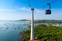 Cable Car Mast And Gondola, Phu Quoc island, Vietnam.