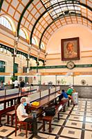 interior Of Saigon Central Post Office With Ho Chi Minh Portrait.