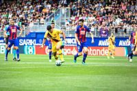 EIBAR, SPAIN - OCTOBRER 19, 2019: Luis Suarez, Barcelona player, controls the ball in the presence of Eibar playersin action during a Spanish League m...