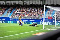 EIBAR, SPAIN - OCTOBRER 19, 2019: Lionel Messi, Barcelona player, scores his goal in the Spanish League match between Eibar and FC Barcelona at Ipurua...