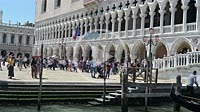 Tourists and gondolas at Ponte della Paglia. Venezia. Italy.