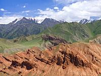 Landscape along the Pamir Highway. The mountain range Tian Shan or Heavenly Mountains. Asia, Central Asia, Kyrgyzstan.