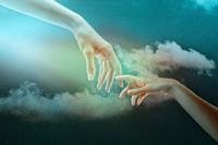 Humanity. Abstract backgrounds. Couple of hands against the skies.
