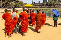 A Group of Novice Monks At Angkor Wat, Siem Reap, Siem Reap Province, Cambodia.