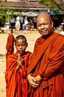 Buddhist Monks At Angkor Wat, Siem Reap, Siem Reap Province, Cambodia.