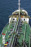 Top view of fuel oil pipelines on deck of fuel oil bunker vessel, Piraeus port, Athens, Greece.