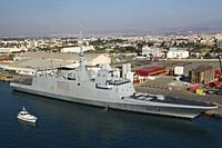 French Navy frigate D654 docked in Limassol port, Cyprus.