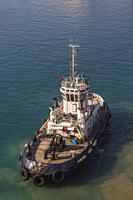 High angle view of Aspelia tugboat in Limassol harbour, Cyprus.