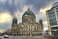 Radisson SAS Hotel, Berliner Dom Cathedral in the back, Berlin, Germany, Europe.
