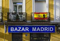 View of a placard in a street of Chamberi quarter. Madrid city, Spain. May, 2020