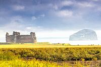 Tantallon Castle and Bass Rock islet near New Berwick, East Lothian, Scotland.