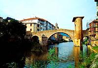 Medieval bridge. Balmaseda, Vizcaya province, Basque Country, Spain.