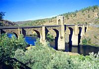 Roman bridge. Alcantara, Caceres province, Extremadura, Spain.