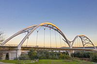 Ibn Firnas Bridge, Cordoba, Spain. View from river Guadalquivir bank.