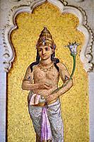 India, Gujarat, Baroda or Vadodara, Lakshmi Vilas Palace built in 1890 by Maharajah Sayajirao Gaekwad, mosaic.