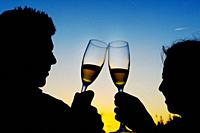 Silhouette of two bride and groom toasting with champagne at sunset, Valencia, Spain