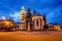 Church in the main square of Liptovsky Mikulas, Slovakia.