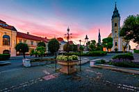 Catholic church in the main square of the old town in Lucenec, Slovakia. .