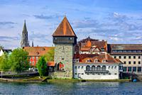 The historic Rhine Gate Tower (Rheintorturm), the medieval northern town gate, in Konstanz at Lake Constance, Baden-Wurttemberg, Germany, Europe.