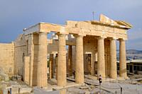 The Propylaea, the monumental gateway to the Acropolis of Athens, Greece, Europe