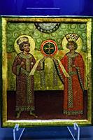 constantino y helena manifiestan la cruz, tempera sobre madera, siglo X, museo de Evora, Evora, Alentejo, Portugal, europa.