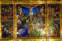 triptico de la pasion de cristo, cobre y esmalte, Nardon Penicaud, siglo XVI, museo de Evora, Evora, Alentejo, Portugal, europa.