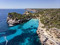 Calo des Moro, Santanyi, Mallorca, Balearic Islands, Spain. Image taken during the Covid-19 pandemic lockdown.