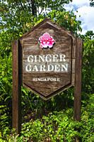 Entrance sign at the Ginger Garden, Singapore Botanic Gardens, Singapore, Republic of Singapore.