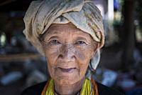 Portrait of an elder hilltribe woman near Pai, Thailand.