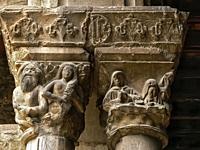 Romanesque Capitals. Monastery of Ripoll (Girona) Spain.