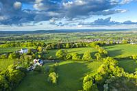 Green Countryside near Saint Michael and All Angels Church, Pinhoe, Devon, England, United Kingdom, Europe.