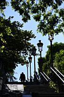 Montmartre staircase in Paris,France,Europe.