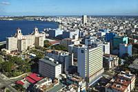 View of Havana. On the left the twin-towered landmark Hotel Nacional. Havana, Cuba.
