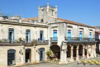 Plaza de la Catedral with its restored aristocratic residences. Habana Vieja, Havana, Cuba.