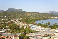 View of the outskirts of Baracoa and the El Yunque mountain, the hallmark of Baracoa's landscape. Baracoa, Cuba.