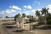 Porticoed Neoclassical buildings frame the Parque José Martí. Cienfuegos, Cuba.