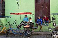 Bicycle taxis. Camagüey, Cuba.