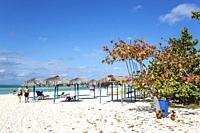 The Flamenco Beach on the Cayo Coco island. Jardines del Rey archipelago, Cuba.