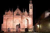 Cathedral facade illuminated at night when it rains. Antequera. Andalusia. Spain.