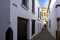 The narrow streets of the medieval city with the bell tower in the background. Carmona, Andalusia. Spain.