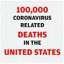 Statistics calligraphy noting 100, 000 causalities in United States of America due to COVID-19 Coronavirus.