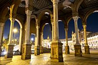 A spectacular view of plaza de espana at night. Seville, Andalusia. Spain.