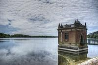 HDR image of cloud formation over the draw off tower at Swithland Reservoir in Leicestershire.