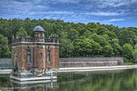 HDR image of the draw off tower at Swithland Reservoir in Leicestershire.