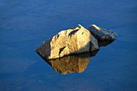 Rocks are reflected in the glassy water of a costal puddle.