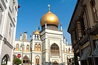 Singapore, Republic of Singapore, Asia - Exterior view of the Sultan Mosque (Masjid Sultan) in the Muslim Quarter (Kampong Glam) along North Bridge Ro...