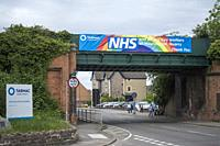 Thank you banner for the NHS on a bridge over Leicester Road in Mountsorrel by the company Tarmac.