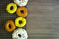 Donuts of San Isidro on a table.