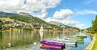 St. Moritz and Lake St. Moritz in Springtime, Upper Engadin, Switzerland | St. Moritz Dorf und St. Moritz See im Frühling, Ober Engadin, Schweiz.